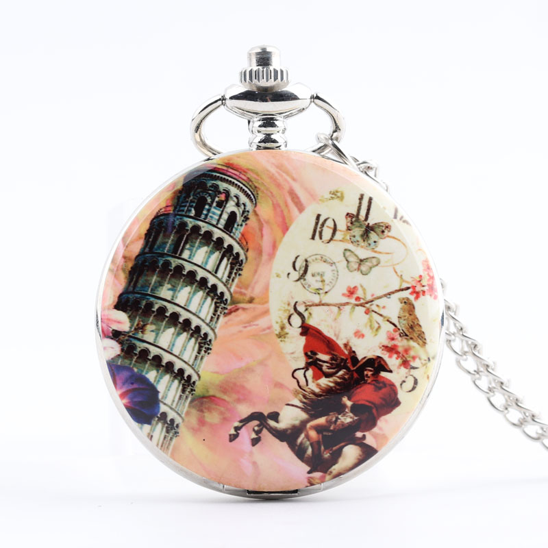 Pocket & Fob Watches The Leaning Tower of Pisa Quartz Pocket Watch Necklace Pendan  Women/Mens  Pendant Watch Gift