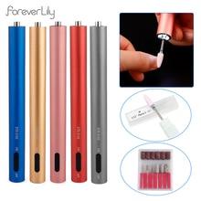 12000RPM USB Tragbare Nagel Bohrer Maschine Nagel Salon Mini Nagel Polieren Stift Maniküre Schleifen Werkzeug mit 6Pcs Nagel bohrer Bits