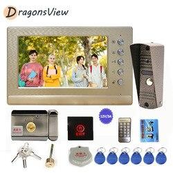 Dragonsview wideodomofon z zamkiem 7 cal Monitor 800TVL IP65 dzwonek do drzwi kamera wideo telefon drzwi System wprowadzania wsparcie odblokować