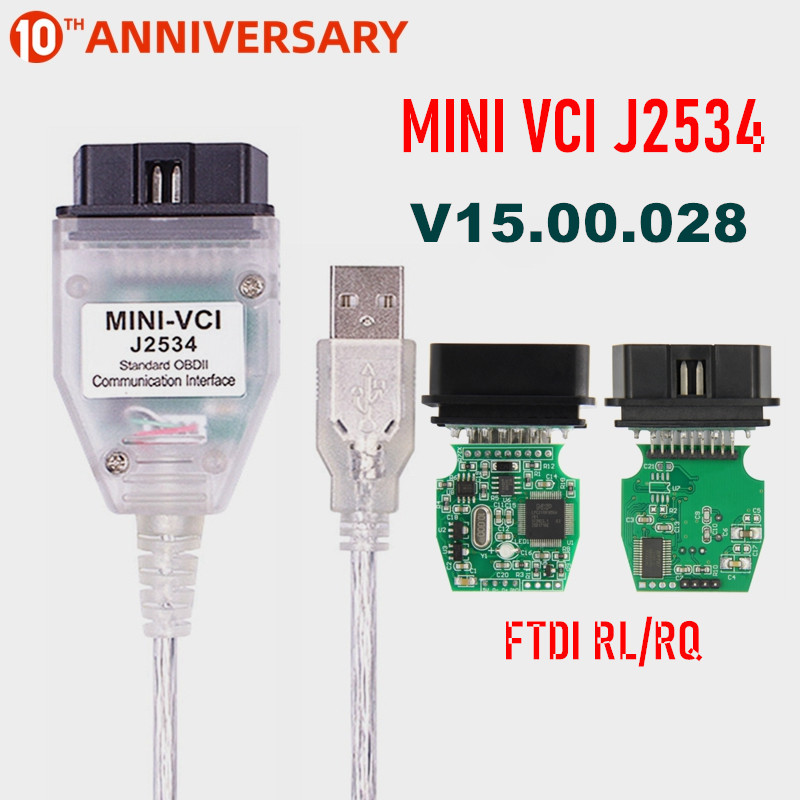 MINI VCI V15.00.028 FTDI FT232RL FT232RQ MINI-VCI J2534 для Toyota TIS Techstream Диагностика автомобиля с интерфейсом OBD2
