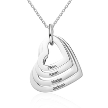 Personalized Necklaces Fashion Stainless Steel Jewelry Customized Hollow Heart Pendants Engraved 4 Names Delicate Gift for Women