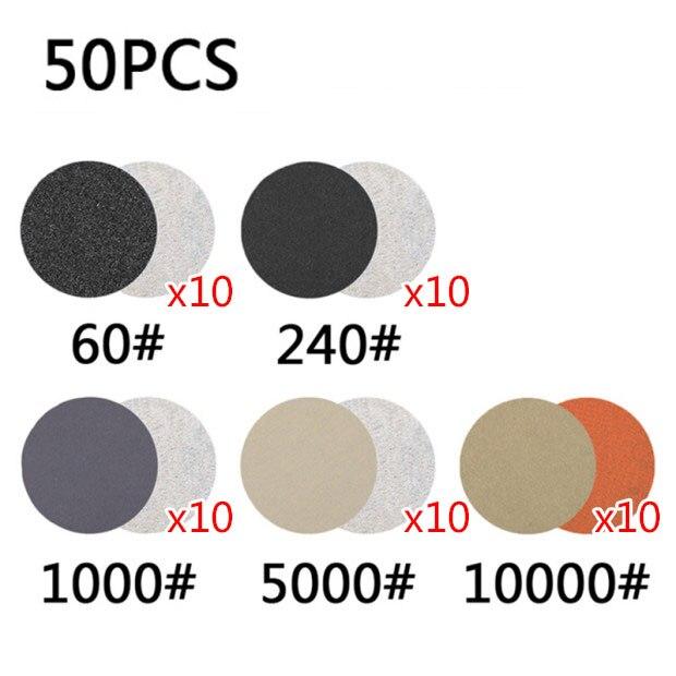 50x/set Wet&Dry 25mm Sanding Disc Sandpaper 60-10000 Grits Abrasive Backer Pads