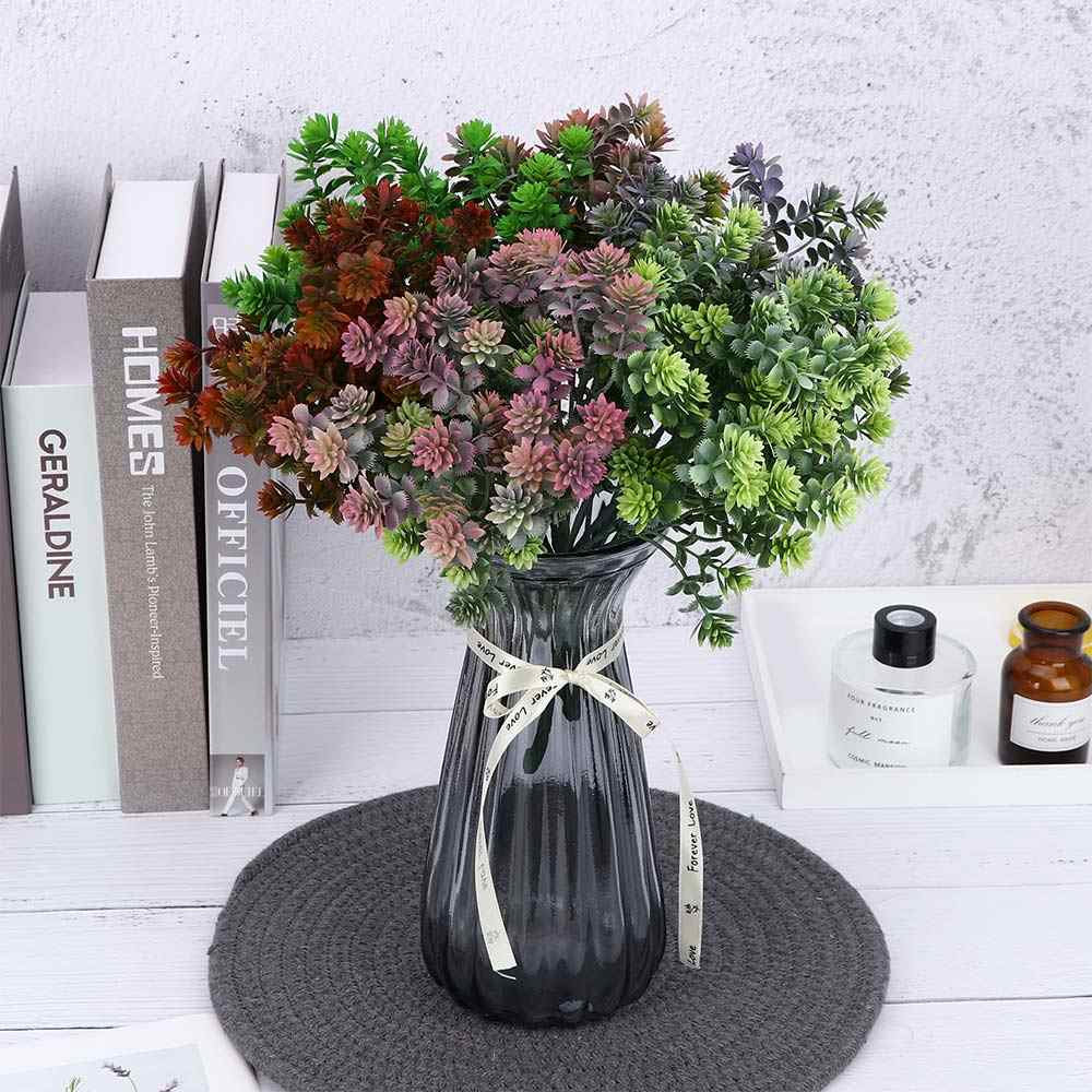 7 Fork 28 Head Artificial Succulent Autumn Leaves Guanyin Lotus Grass Wedding Decoration Plant Fake Flower practical universal