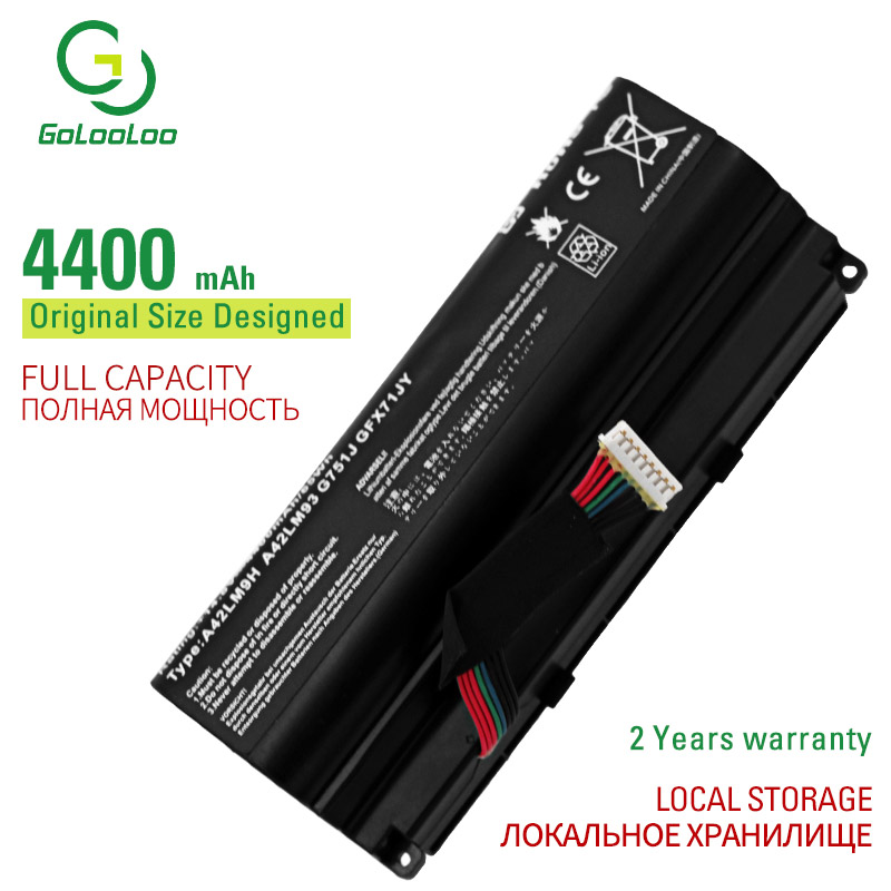 Golooloo 8 cells laptop battery for <font><b>Asus</b></font> G751J G751JM <font><b>G751JT</b></font> G751JY <font><b>ROG</b></font> G751 <font><b>ROG</b></font> G751J <font><b>ROG</b></font> G751JL <font><b>ROG</b></font> <font><b>G751JT</b></font> image