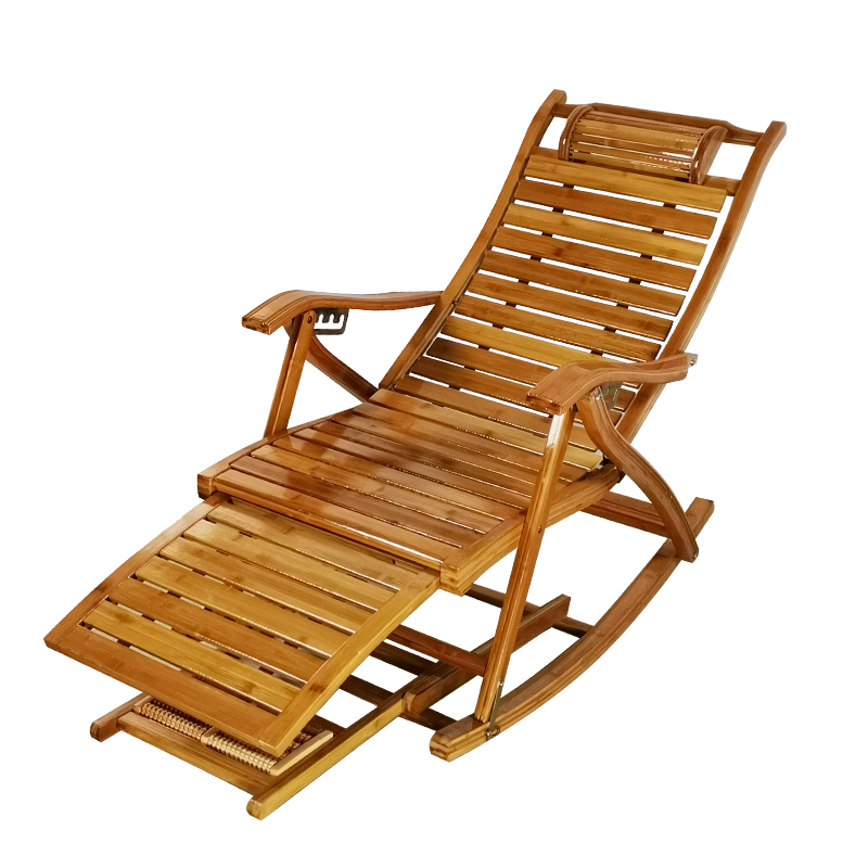 Bamboo Rocking Chair Balcony Home Leisure Nap Chair Folding Chair For The Elderly Adult Lunch Break Leisure Chair Solid Wood