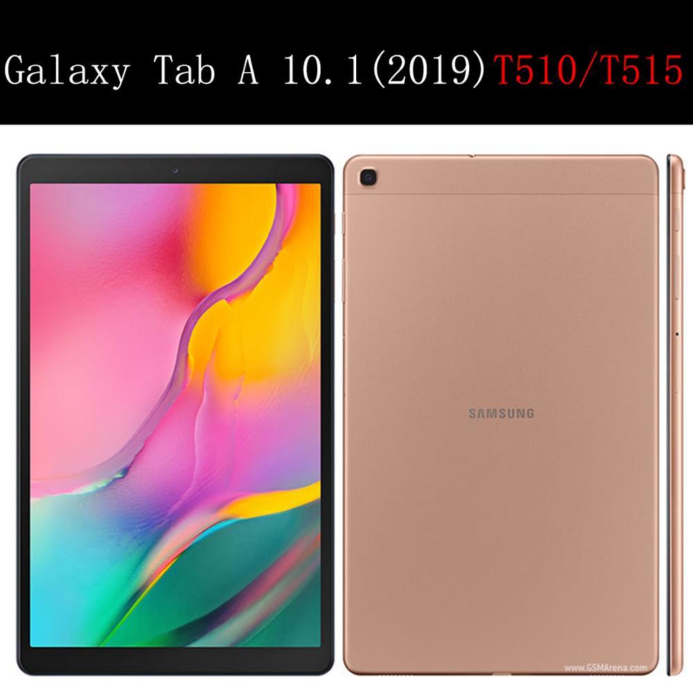 Чехол для планшета Samsung Galaxy Tab A 10,1 дюйма, кожаный чехол 2019 дюйма с функцией умного сна и пробуждения, тройная подставка, однотонный чехол, Обложка для телефона/T515-5