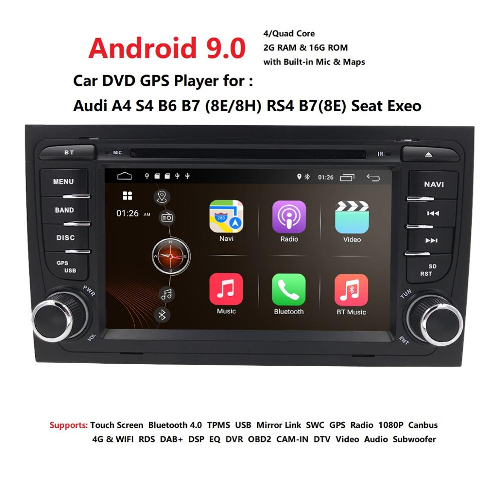 Free shipping! 4G WIFI Android 9.0 CAR GPS Navi for <font><b>audi</b></font> <font><b>A4</b></font> 2002-2008 S4 RS4 8E 8H <font><b>B6</b></font> B7 With BT SWC DAB <font><b>multimedia</b></font> player radio image