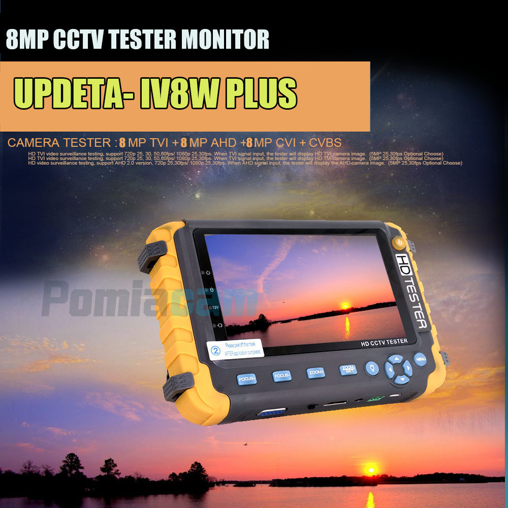 IV8W 5 Inch Display 4-IN-1 Audio Testing 8MP TVI 8MP AHD 8MP CVI CCTV Camera Tester PTZ Security Camera Tester DC12V 1A Output