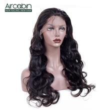 AirCabin 13x4 Body Wave Lace Front Wig 12-24 Remy Hair Wigs With Baby Natural Black Indian Human