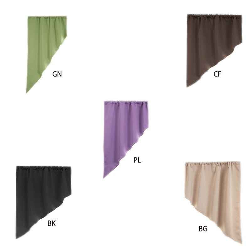 1pc Minimalist Triangle Blackout Short Curtain Panel Solid Color