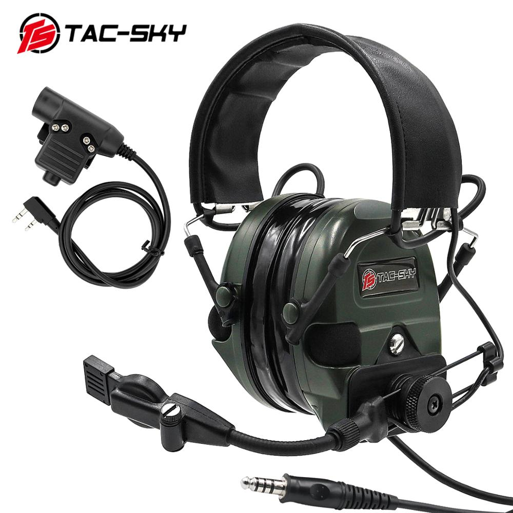 TAC-SKY Tactical Headset TCI LIBERATOR  Silicone Earmuff Noise Reduction Pickup Outdoor Hunting Sports Military Headset+u94ptt