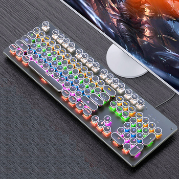 Gaming Mechanical Keyboard punk Round Retro Keycap Backlit USB Wired  for PC Laptop usb wired backlit gaming keyboard optical mechanical keyboard for computer pc laptop game player accessories