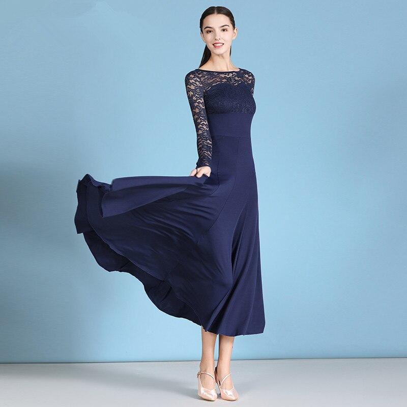 Women Modern Dance Dress Ball Dance Costumes Ballroom Dance Dress Waltz Rumba Tango Uniforms Social Dance Dress Lace Skirt MY823