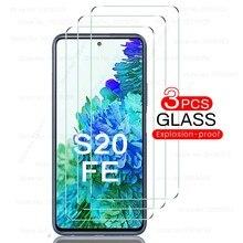 3 pces vidro temperado para samsung galaxy s20fe s20 fe s 20 fé a12 protetores de tela à prova de explosão hd película protetora clara 9h