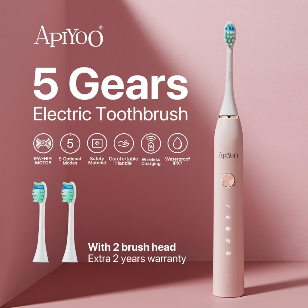 Apiyoo P7  Sonic Electric Toothbrush Wireless Rechargeable Brush IPX7 Waterproof With 5  Modes,2 Min Smart Timer For Adults