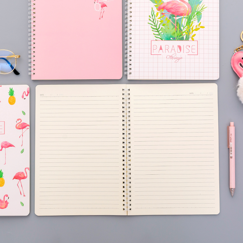 138x207mm A5 size line notebook White cover coil notepad fresh lovely Drawing Daily Weekly Planner Agenda Book Pads Stationery