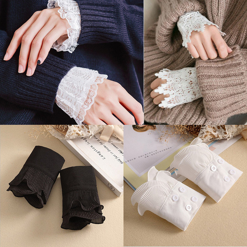 1 Pairs Detachable Shirt Pleated Sleeve False Cuffs Solid Color Pleated Layered Decorative Women Clothing Accessory
