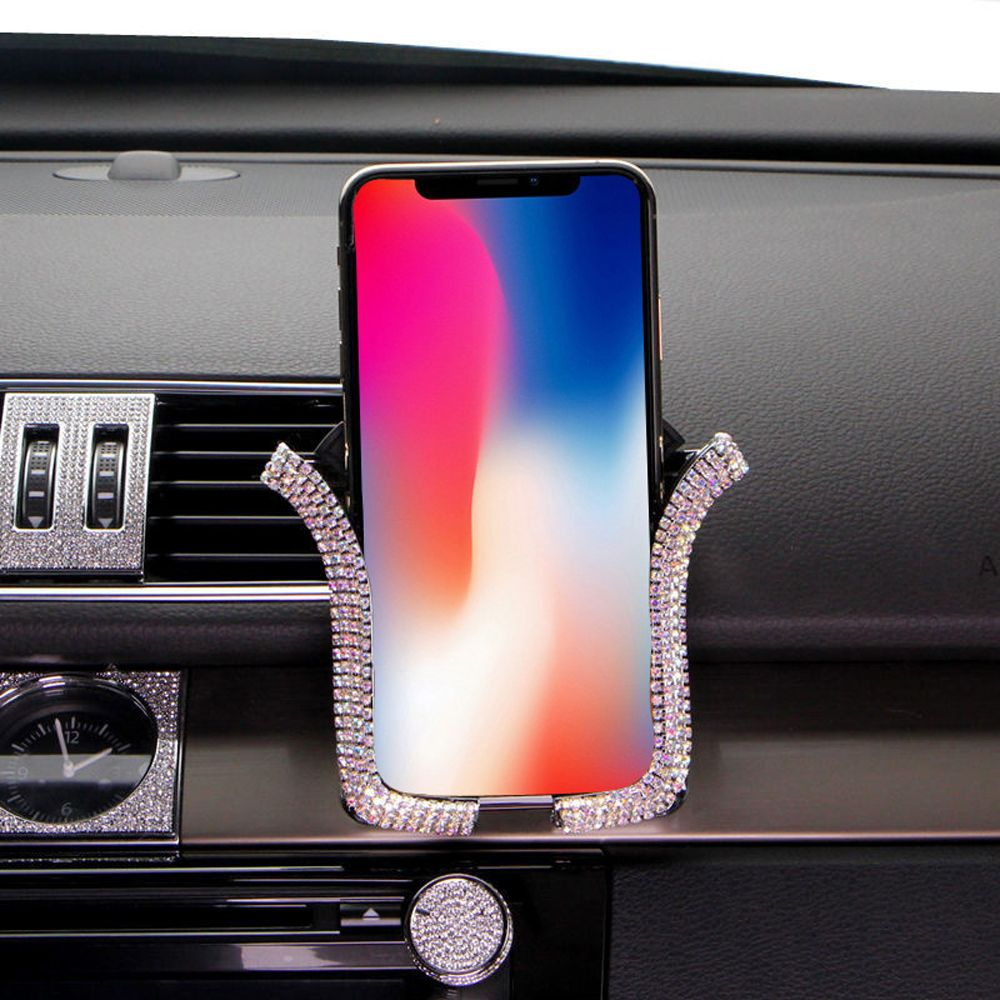 Car-Phone-Holder Crystal IPhone Universal Bing With Car-Air-Vent-Mount Clip-Cell