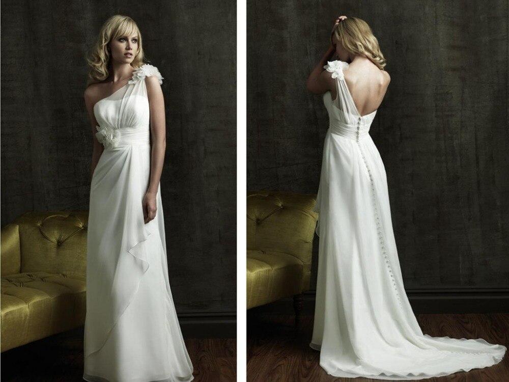 One Shoulder Flowers Button 2016 Hot Sexy New Design White Chiffon Long Wedding Dress Vestido De Noiva Casamento Gowns Brides