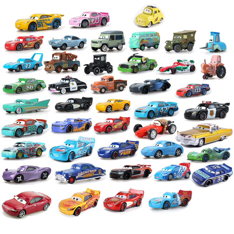 Disney Pixar Cars 2 & Cars 3 Lightning Mcqueen Mater Jackson Storm Ramirez 1:55 Diecast Vehicle Metal Alloy Boy Kid Toys