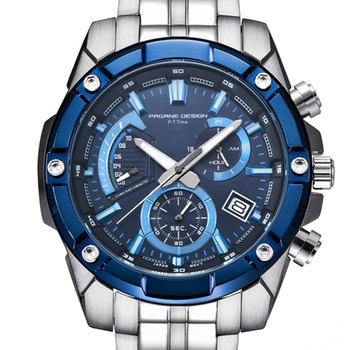 46 mm Pagani design Blue dial date chronograph quartz watch men business stainless steel strap men's Casual Sports watches