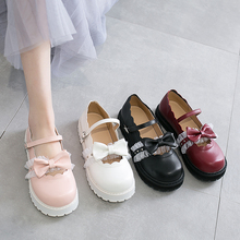 japanese sweet lolita shoes pink white red black bow Harajuku heels