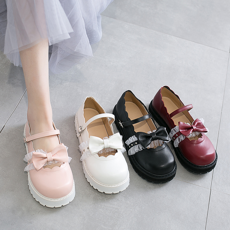 Japanese Sweet Lolita Shoes Pink White Red Black Bow Harajuku Heels Women Cute Shoes Korean Women Shoes Round Head Kawaii Shoes