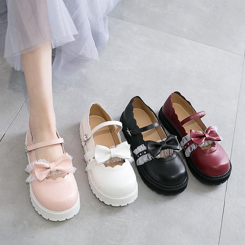 japanese sweet lolita shoes pink white red black bow Harajuku heels women cute shoes korean women shoes round head kawaii shoes