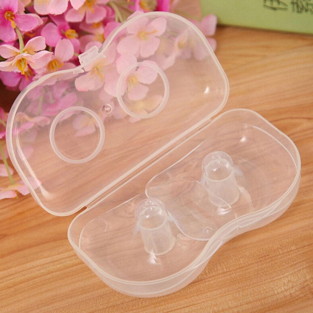 2x Silicone Nipple Shield Cover Breastfeeding Nursing Shield Protector With Box