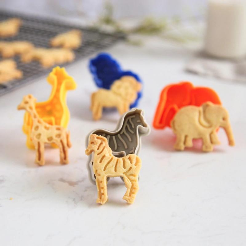 4 шт./компл. форма для торта и печенья животных форма для торта с помадкой формы для печенья плунжера чайник фрезы из сахара, Кухня форма для в...
