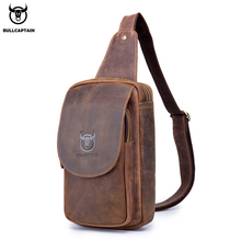 BULLCAPTAIN Men's Shoulder Crossbody Bag Crazy Horse Leather Chest Sling Bags Leather Messenger Bag Male Retro Zip Shoulder Bag man canvas with crazy horse luxury cowboy oil skin leather bags briefcases and male bag retro single shoulder bag messenger bag