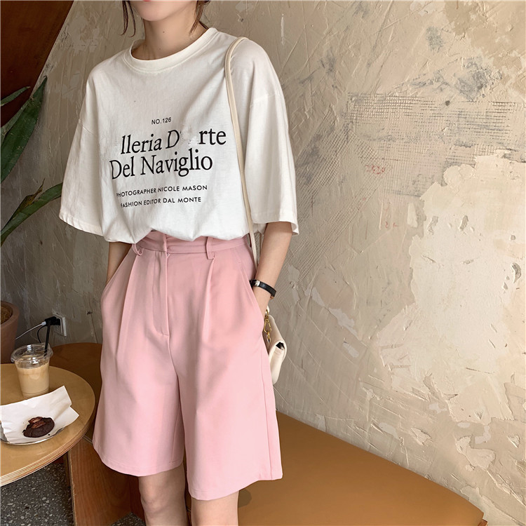 Hfa8811b515b24edea71989da02298d74A - Summer High Waist Wide Leg Loose Solid Shorts
