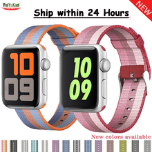 Strap For Apple Watch Band 44 mm 40mm iwatch band 42mm 38mm Woven pulseira Sport Nylon Loop correa Bracelet apple watch 5 4 3 2 аксессуар ремешок apple watch 38mm woven nylon band red mpw02zm a