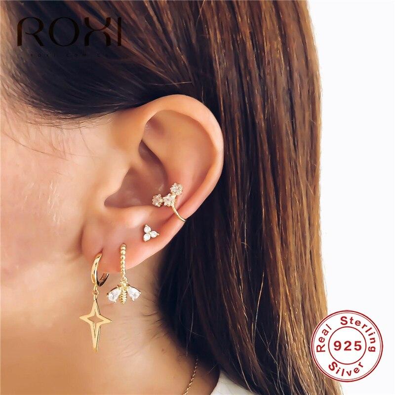 ROXI 925 Sterling Silver Bee Stud Earrings Small Clear CZ Honeybee Exquisite Studs Earrings For Women Wedding Earrings Jewelry