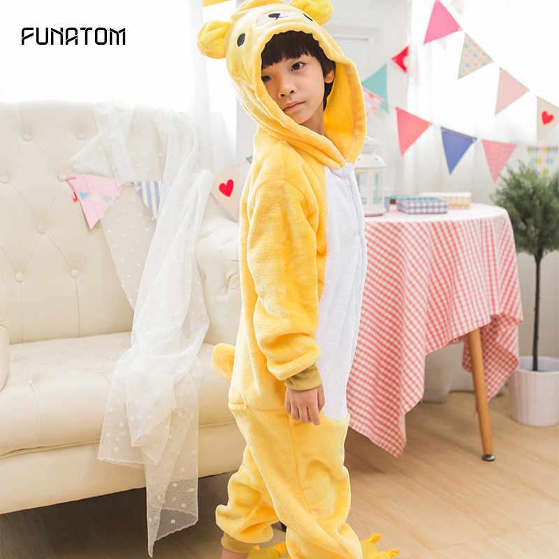 子供のパジャマ少年少女のためのくまクマパジャマフランネル子供シュティッヒ Pijamas セット動物パジャマ冬 Onesies 4- 12