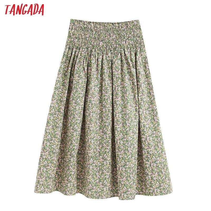 Tangada Women Floral Print Pleated Midi Skirt Faldas Mujer Vintage Strethy Waist Ladies Chic Mid Calf Skirts BE341