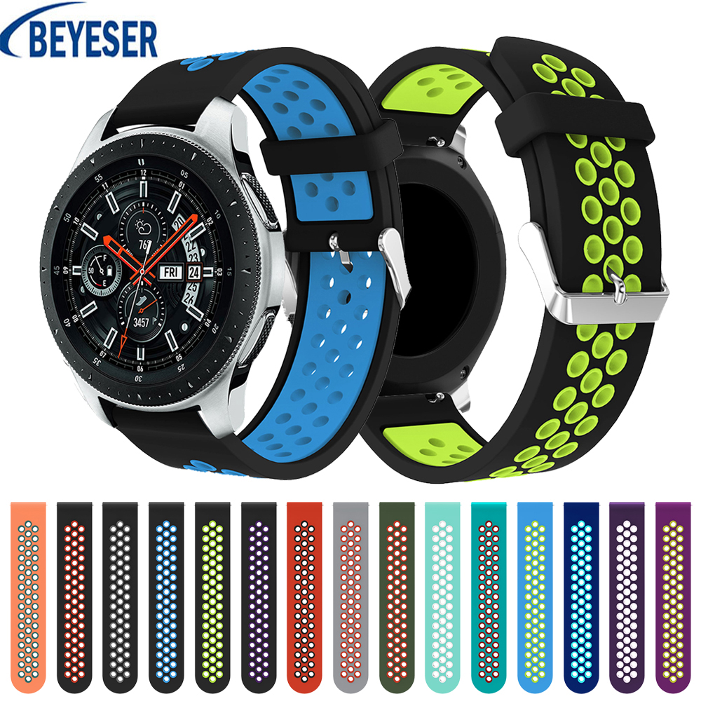 22mm Original round hole metal buckle double color silicone belt replacement strap For <font><b>Samsung</b></font> Galaxy <font><b>watch</b></font> <font><b>46mm</b></font> <font><b>smart</b></font> <font><b>bracelet</b></font> image