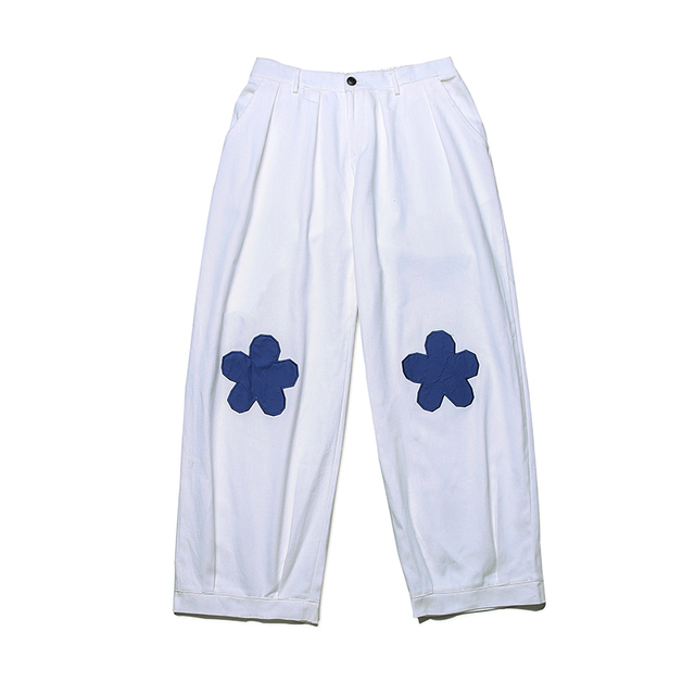 2020 Men's Embroidery Flower Printing Wide Leg Pants Lattice Leisure Casual Pants Hip-hop Style High Quality Trousers Size M-XL 5