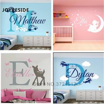 JOYRESIDE Personalized Names Wall Sticker Home Bedroom Custom Name Decal Different Designs Choose Sicker Vinyl WM001