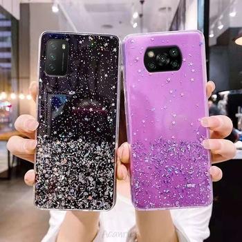 Bling diament gwiazda brokat etui na telefony dla na Xiaomi Mi Poco F3 X3 Nfc Pro Po Co M3 X2 F2 M2 Pro miękka pokrywa tylna z Tpu pokrywa Fundas Capa tanie i dobre opinie CN (pochodzenie) Fitted Case Bling Glitter Glimmer Sparkle Shiny Sequins Bumper Phone case Zwykły przezroczyste pink green transparent black purple