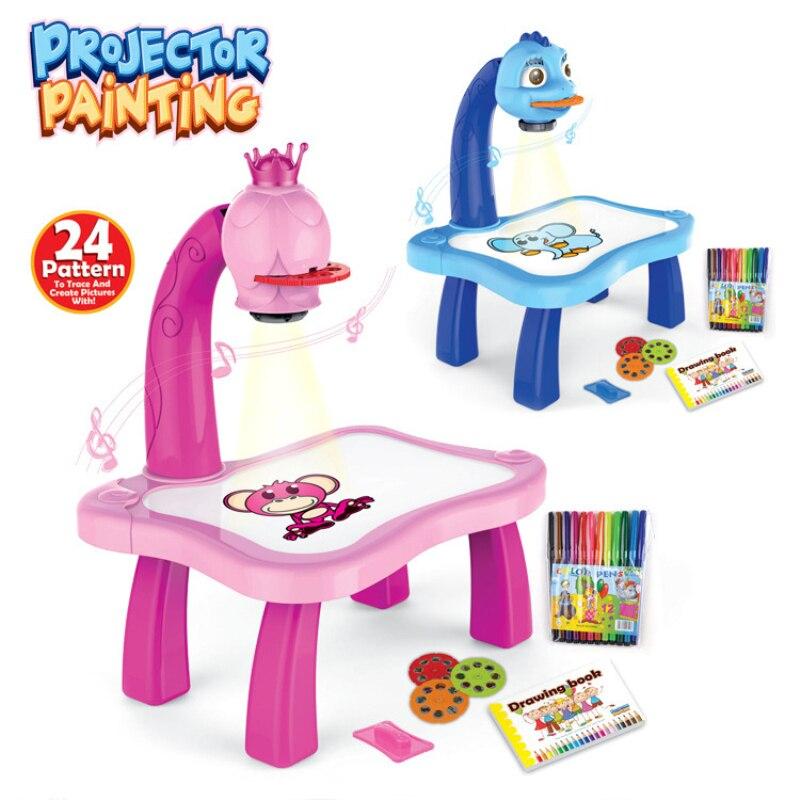 Children's Drawing Board Toy Mini Children's Desk Smart Projection Drawing Board Projector Art Supplies Kids Boy Girl Gift TSLM1
