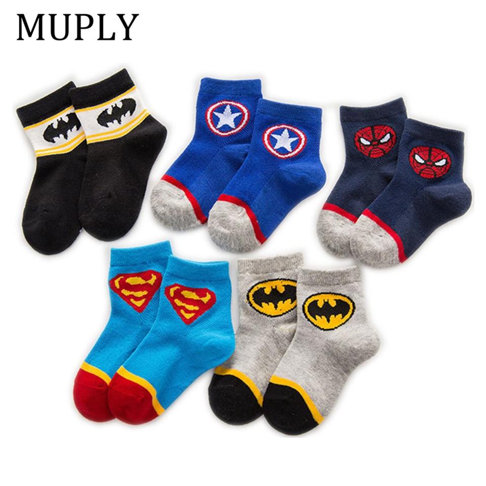 AMOZAE 5 Pairs Baby Cotton Socks Breathable Cartoon Spiderman Batman Fashion Baby Boys Girls Socks For 1-12  Years