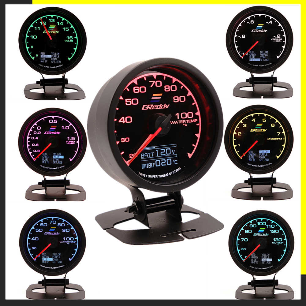 Greddi Multi D/LCD Tampilan Digital Turbo Boost Pengukur Mobil Gauge 2.5 Inci 60 Mm 7 Warna 1 Balap Gauge