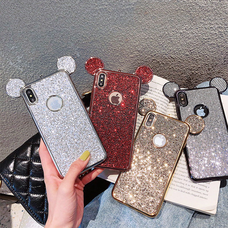 For Samsung Galaxy S6 S6edge S7 S7edge S8 S9 S10 Plus 3D Luxury Cartoon Mouse Ears Bling Glitter Case Soft Silicone Cover Coque image