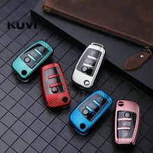 Soft TPU Carbon fiber Car Key Case Cover Bag For Audi A1 A3 A4 A5 Q7 A6 C5 C6 Car Holder smart remote Car Styling accessories