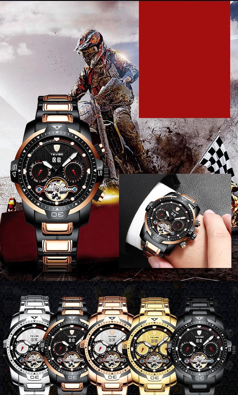 Big Man Watch TEVISE T816A Tourbillon Week Date Month Automatic Mechanical Wristwatch Luminous Hand Scale Watch Men Dropshipping (3)