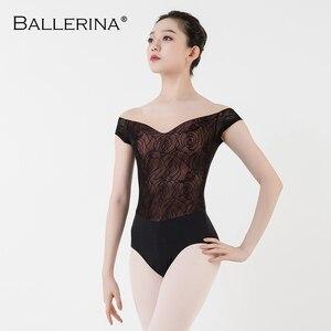 Image 5 - Ballet Turnpakje Vrouwen Praktijk Korte Mouwen Dans Kostuum Sexy Mesh Gymnastiek Rose Gold Kant Maillots Adulto Ballerina 3503