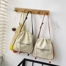 2021 New Women Canvas Shoulder Bag Leather Cotton Patchwork Design Bucket Bags Drawstring Handbag Tote Cloth Purse For Ladies