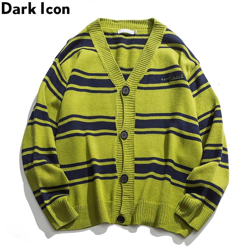 Cardigan Sweater Oversized Clothing Knitwear Striped Men Hip-Hop Dark-Icon Retro