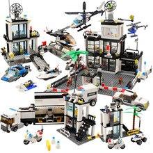 Mini figura de polícia da cidade, veículo, tráfego, helicóptero, prisioneiro, carro, barco, blocos de construção, tijolos, brinquedos para crianças, meninos